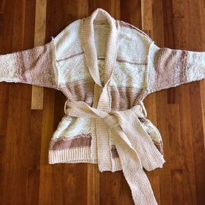 Free People Cotton Belted Cardigan Earth Tones